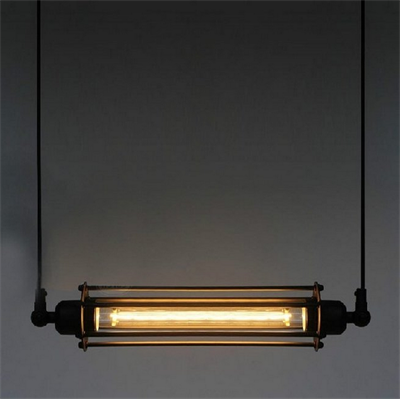 Светильник подвесной лофт Edison Cage Horizontal Mono