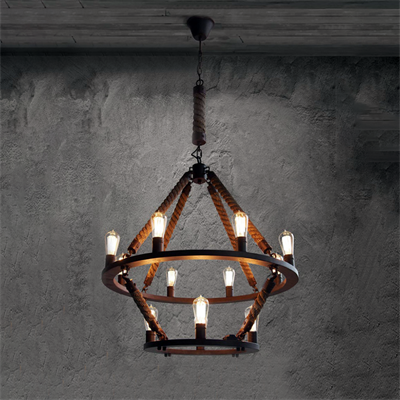 Люстра Loft Chandelier Old Castle Rope Double - фото 26704