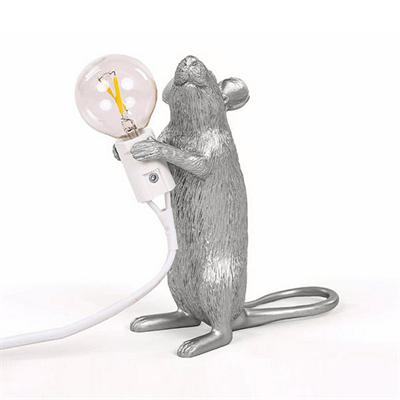 Настольная Лампа Мышь Mouse Lamp #1  H15 см Серебро - фото 26913