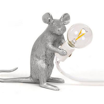 Настольная Лампа Мышь Mouse Lamp #2  H12 см Серебро - фото 26923