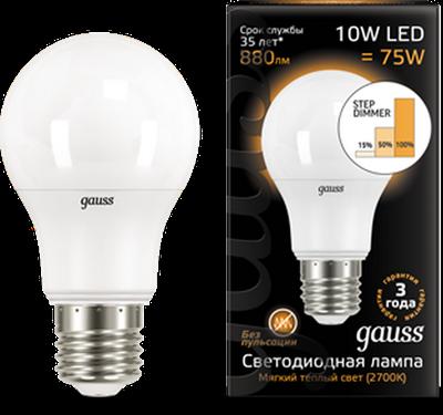 Лампа светодиодная  Gauss LED A60 10W E27 880lm 2700K step dimmable 1/10/50 - фото 27231