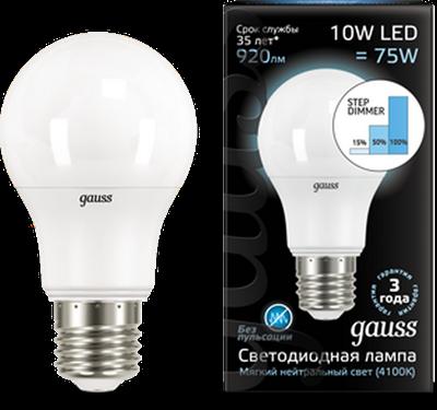 Лампа светодиодная  Gauss LED A60 10W E27 920lm 4100K step dimmable 1/10/50 - фото 27232