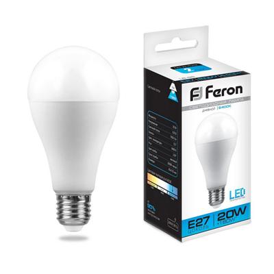 Лампа светодиодная Feron LB-98 Шар E27 20W 6400K - фото 27318