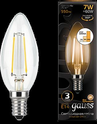 Лампа светодиодная Gauss LED Filament Свеча E14 7W 550lm 2700К step dimmable 1/10/50 - фото 27323