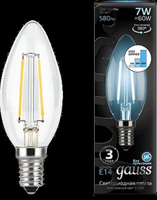 Лампа светодиодная Gauss LED Filament Свеча E14 7W 580lm 4100К step dimmable 1/10/50 - фото 27324