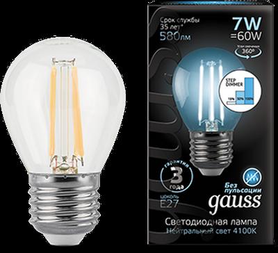Лампа светодиодная Gauss LED Filament Шар E27 7W 580lm 4100K step dimmable 1/10/50 - фото 27331