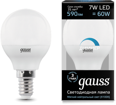 Лампа светодиодная Gauss LED Шар-dim E14 7W 590lm 4100К диммируемая 1/10/100 - фото 27339