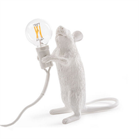 Настольная Лампа Мышь Mouse Lamp #1 в стиле Seletti H15 см Белая