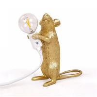 Настольная Лампа Мышь Mouse Lamp #1 в стиле Seletti H15 см Золотая