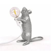 Настольная Лампа Мышь Mouse Lamp #1 в стиле Seletti H15 см Серебро