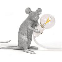 Настольная Лампа Мышь Mouse Lamp #2 в стиле Seletti H12 см Серебро
