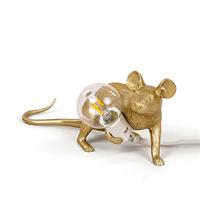 Настольная Лампа Мышь Mouse Lamp #3 в стиле Seletti Н8 см Золотая