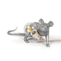 Настольная Лампа Мышь Mouse Lamp #3 в стиле Seletti Н8 см Серебро
