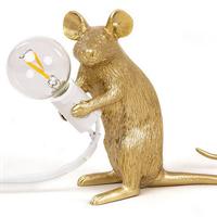 Настольная Лампа Мышь Mouse Lamp #2 в стиле Seletti H21 см Золотая