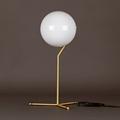 IC Флос настольная лампа белый круглый плафон высокое золотое основание
