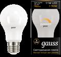 Лампа светодиодная Gauss LED A60-dim E27 11W 960lm 3000К диммируемая 1/10/50 - фото 27319