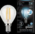 Лампа светодиодная Gauss LED Filament Шар E14 7W 580lm 4100K step dimmable 1/10/50 - фото 27329