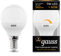 Лампа светодиодная Gauss LED Шар-dim E14 7W 560lm 3000К диммируемая 1/10/100 - фото 27338