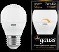Лампа светодиодная Gauss LED Шар-dim E27 7W 560lm 3000К диммируемая 1/10/100 - фото 27340